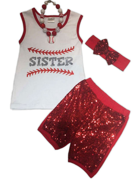 Baseball Sister Red Sequin Shorts Set