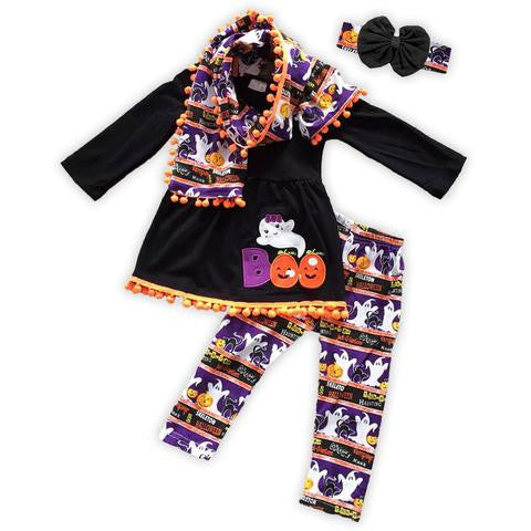 BLACK PURPLE BOO POM SCARF PANT SET