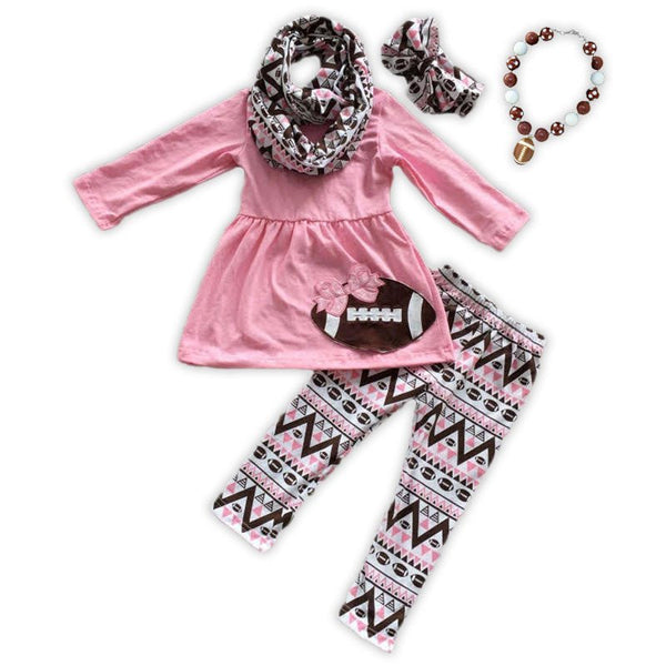 Pink Aztec Football 3 pc set