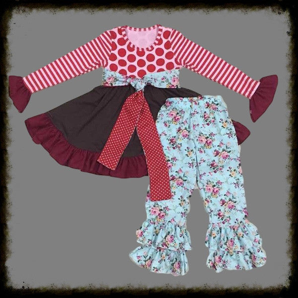 Flowers and Dots Ruffle 2pc Set