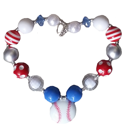 Chunky Necklace- Baseball