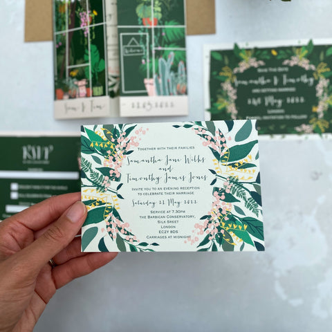 Botanical Glasshouse Single Sided EVENING Wedding Invitations