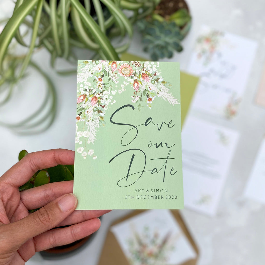 Botanical Boho Save the Date Cards