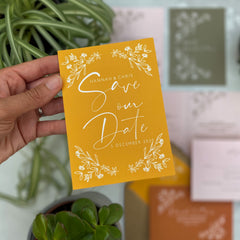 Botanical Linea Colour Customise Save the Date Cards