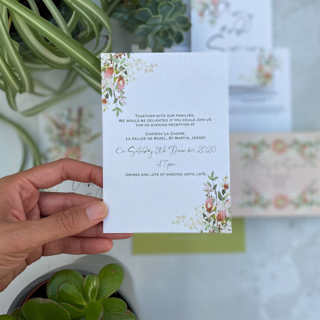 Botanical Boho Double Sided A6 Evening Invitation Cards