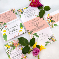 Modern Floral Concertina Evening Wedding Invitations