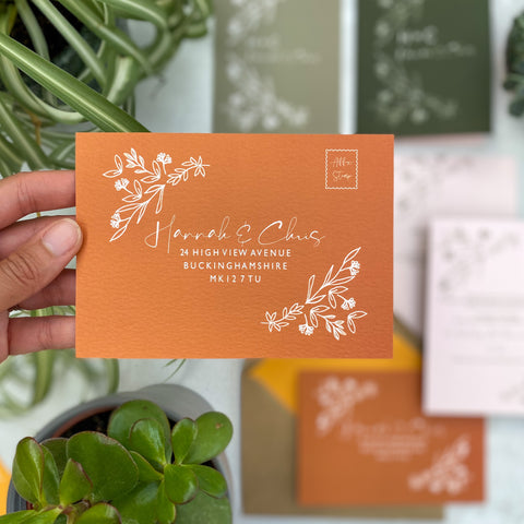 Botanical Linea colour customise RSVP Cards