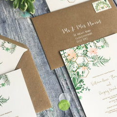 Geo Botanica Day Wedding Invitations