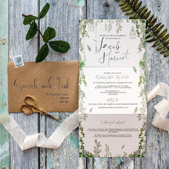 Botanical Wilderness Concertina Day Wedding Invitations