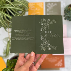 Botanical Linea Colour Customise Folded Day Wedding Invitations