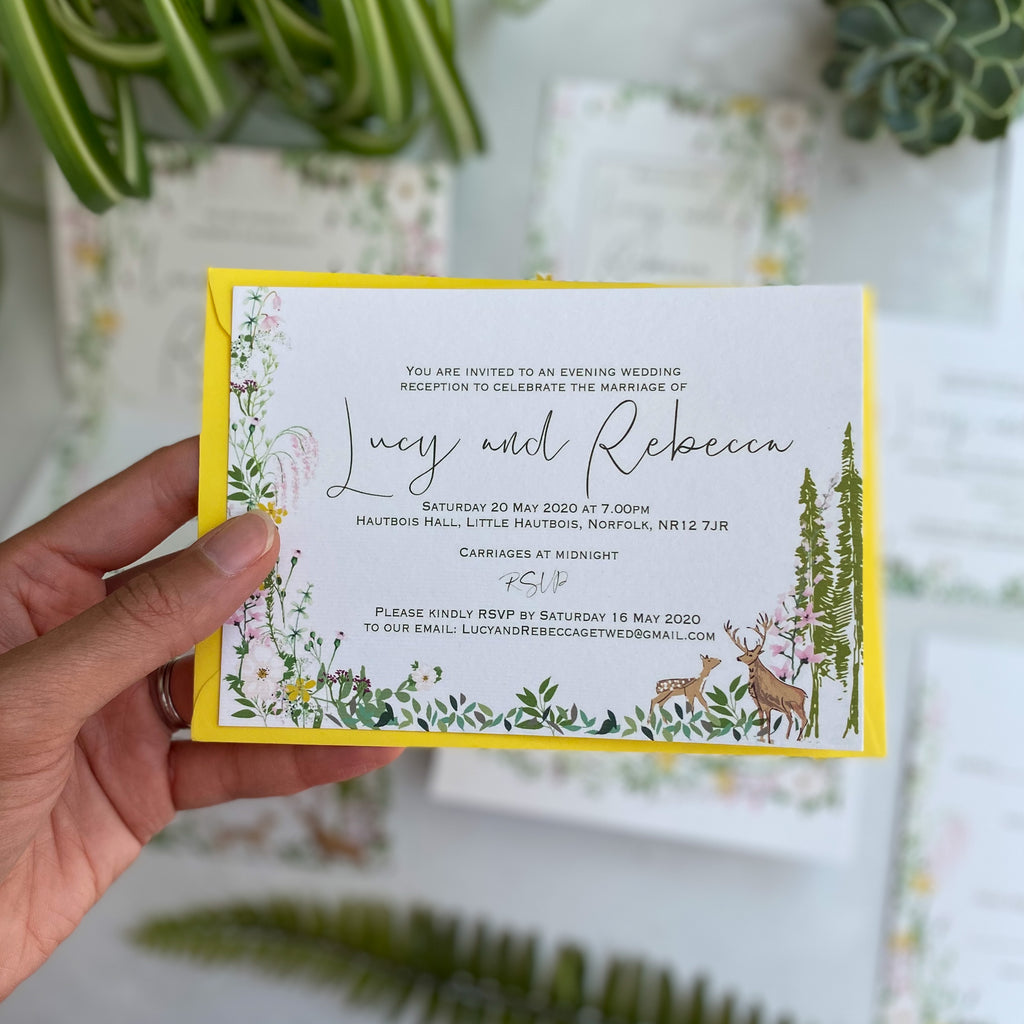 Spring Awakening Double Sided A6 Evening Invitation Cards