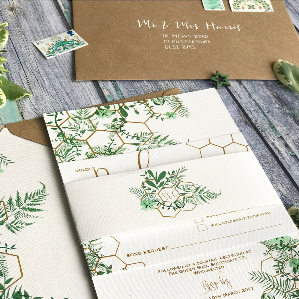 Geo Botanica Evening Wedding Invitations – Gerilovesemi