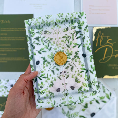 Wild botanical vellum day Invitations (vellum, A5 insert & wax seal)