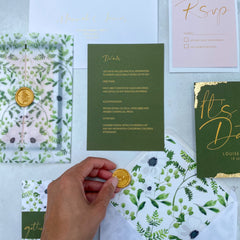 Wild botanical gold leaf save the date card