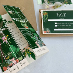 Botanical Glasshouse Gatefold Day Wedding Invitations