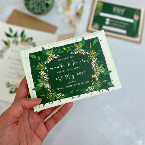 Botanical Glasshouse Save the Date Cards