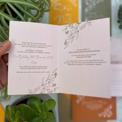 Botanical Linea Colour Customise Folded Evening Wedding Invitations