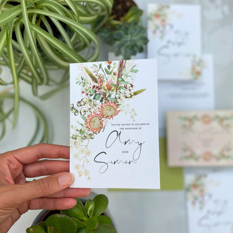 Botanical Boho Folded Day Wedding Invitations