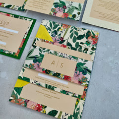 Botanical Bright Double Sided Evening Wedding Invitation & Details Card