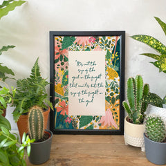 Strong Girls Inspirational Quote and Botanical Art Print