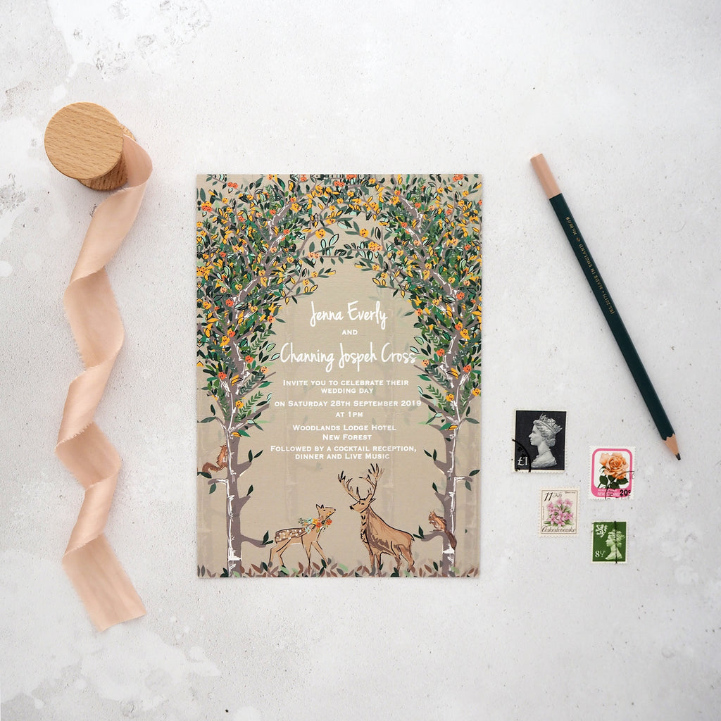 Majestic Woodland Day Wedding Invitations