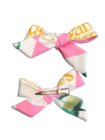 Pink Argyle Hair Bow