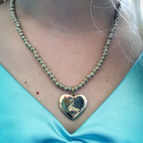 Gold Heart Necklace and Bracelet Set