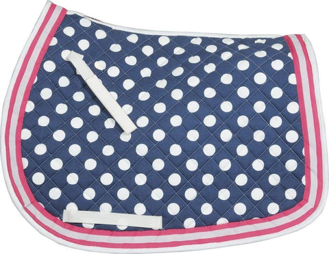 pink and blue polka dotted saddle pad