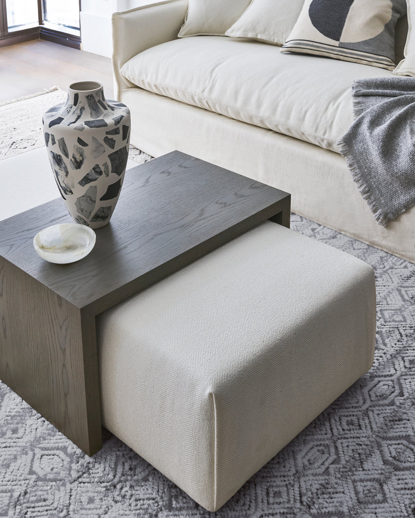 The Bowery Coffee Table Ottoman in Powder Performance Chevron