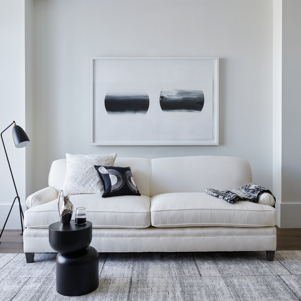 The Carmine Sofa styled in modern minimalist style