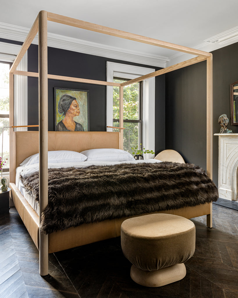The Thompson Canopy Bed and The Mott Stool