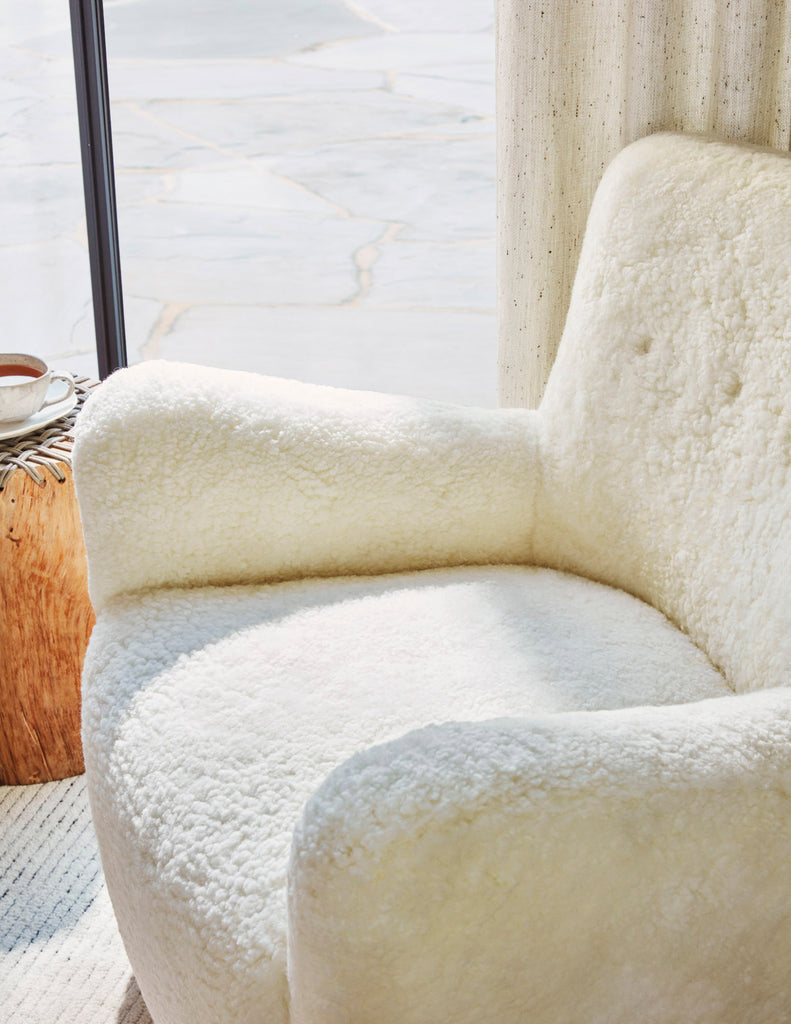 The Perry Chair in Ivory Shearling