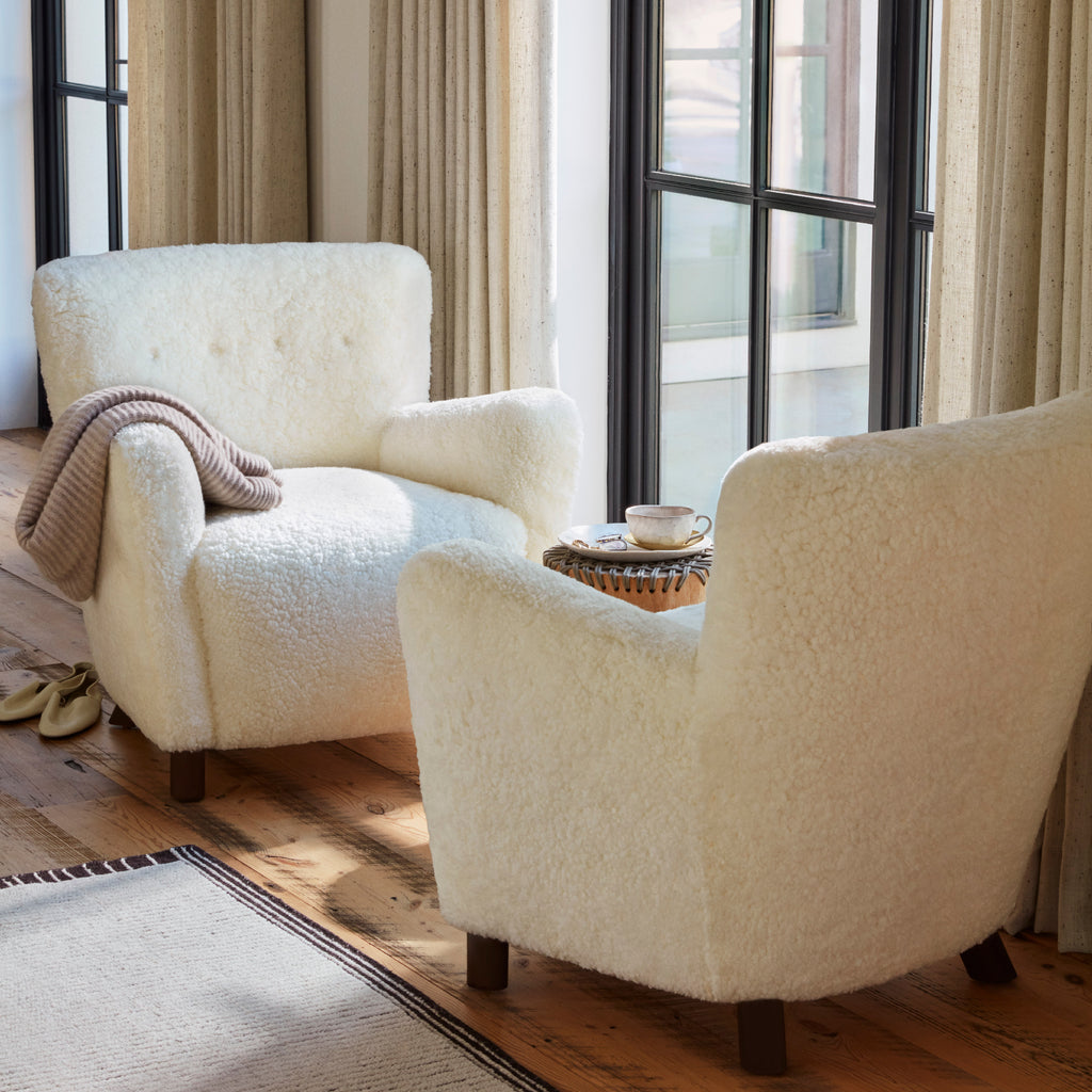 The Perry Chair in Ivory Shearling and Coffee finish