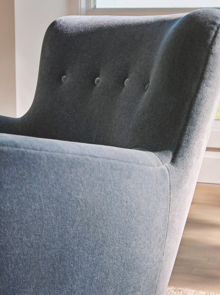 The Perry Chair in Slate Blue Mohair