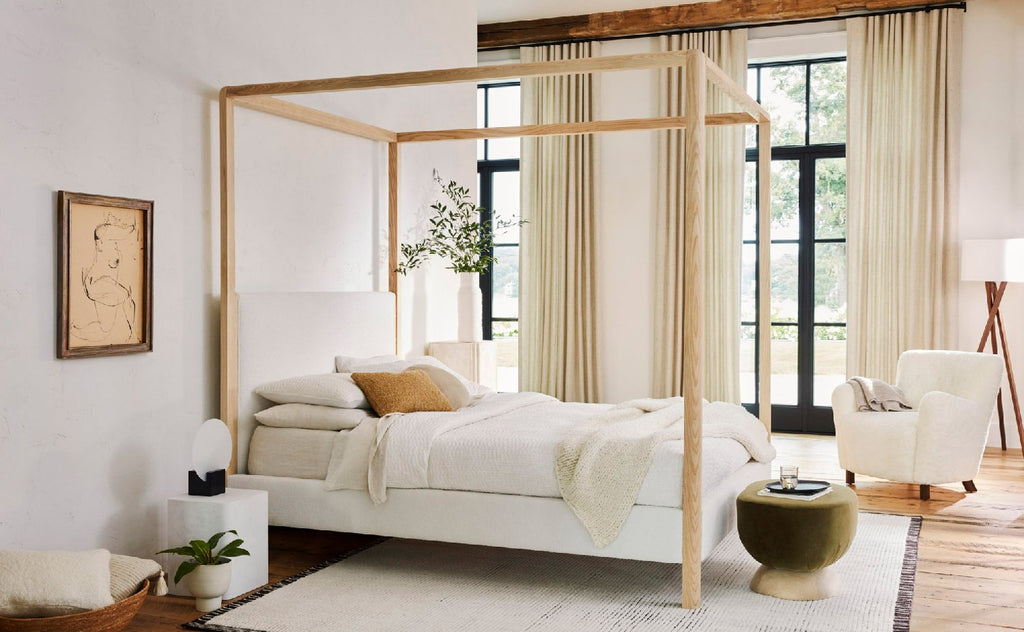 The Thompson Canopy Bed in Polar Performance Bouclé and Natural Ash finish