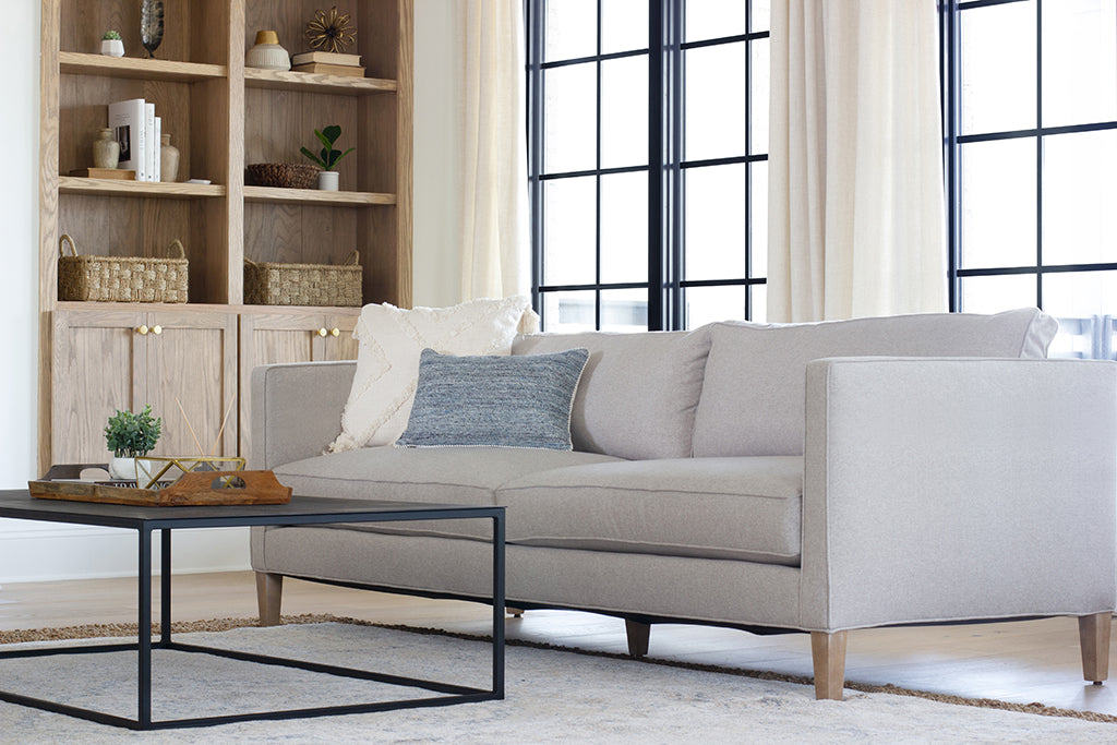 "The Crosby 90"" Sofa in Dusk Merino and Driftwood finish"