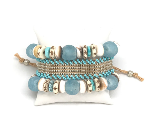 Seaglass and Turquoise Bracelet Set