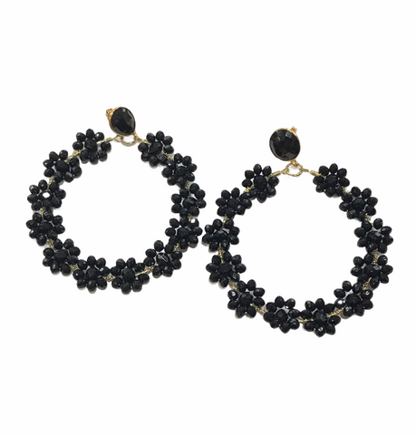 Black Flower Hoop