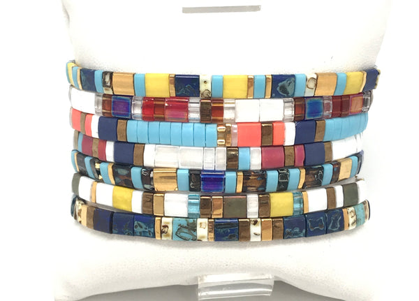 Flat Colorful Stretch Bracelets
