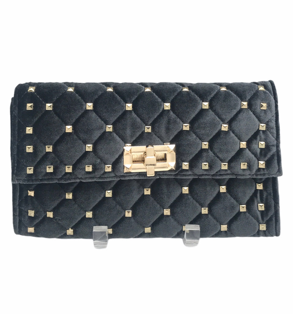 Velveteen Studded Clutch