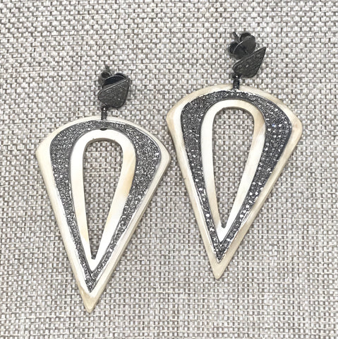 Horn and Diamond Earrings