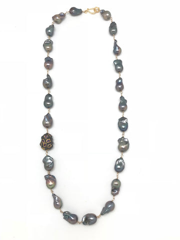Black Baroque Pearl and Diamond Necklace