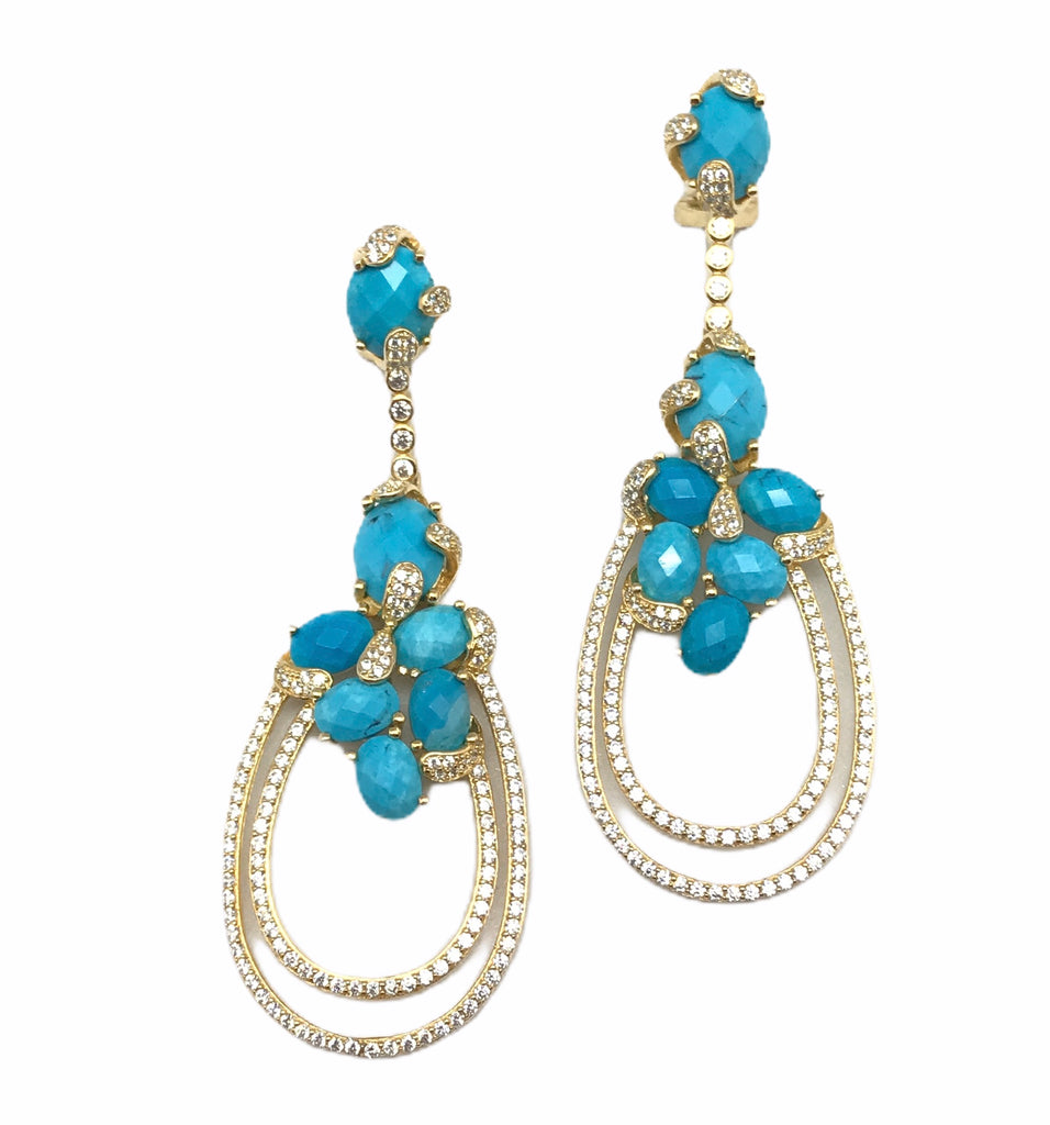 Turquoise And Gold Earring