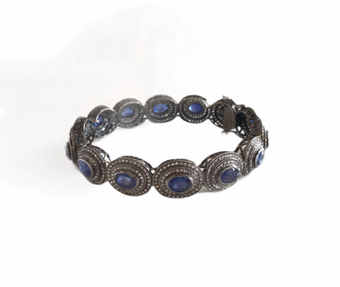 Large Sapphire And Diamond Bracelet