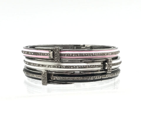 Thin Enamel And Diamond Bracelets