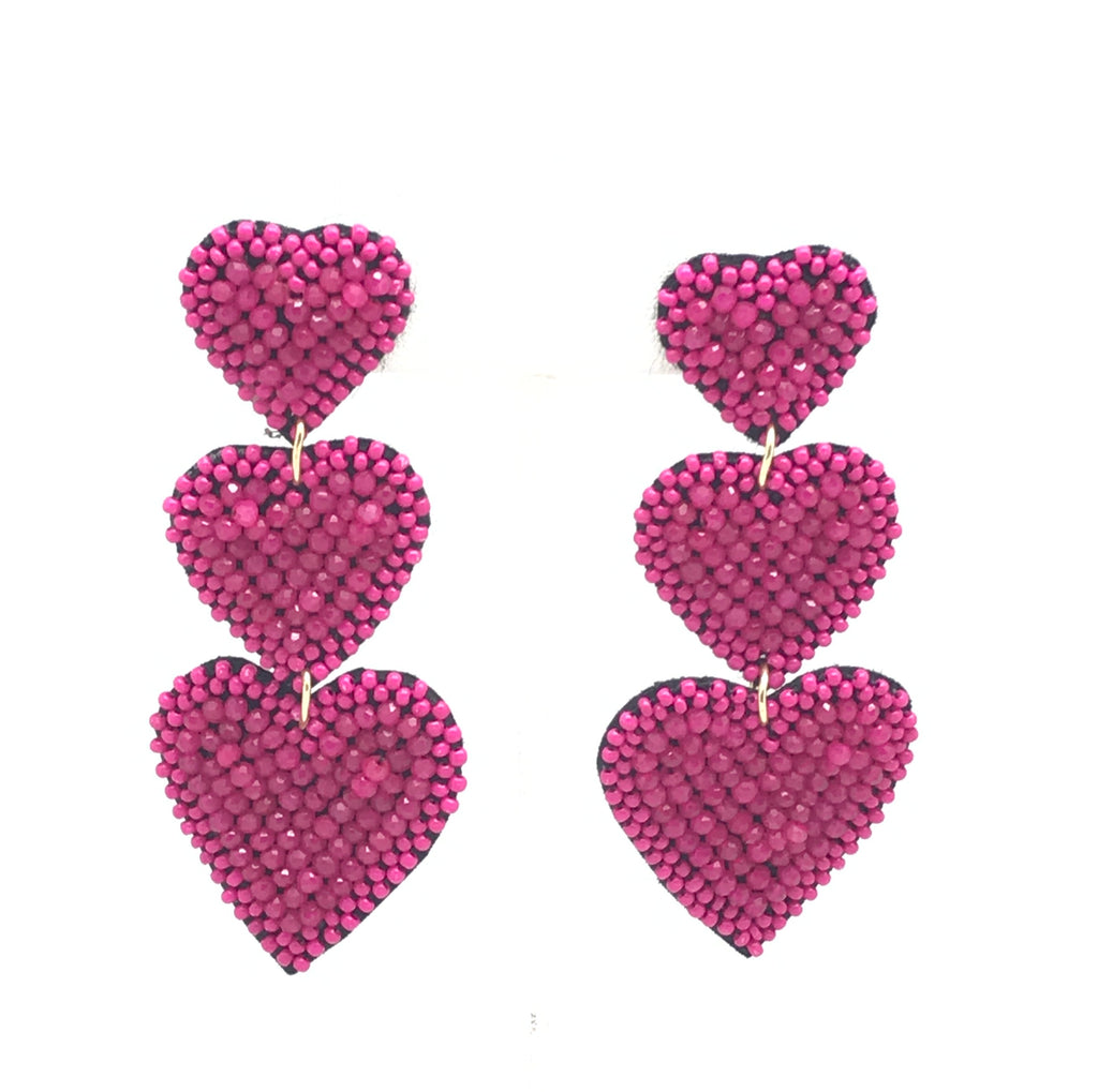 Beaded Heart Statement Earring