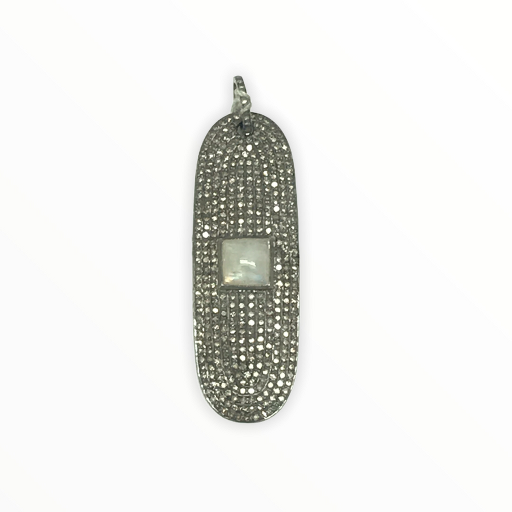 Moonstone And Diamond Dogtag