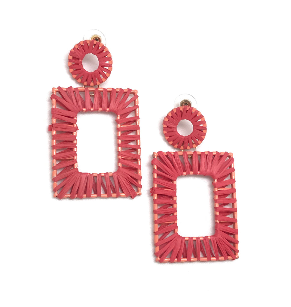 Melon Straw Statement Earrings