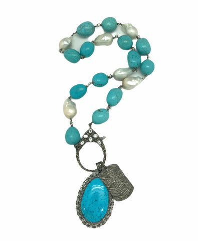 Turquoise and Pearl Necklace