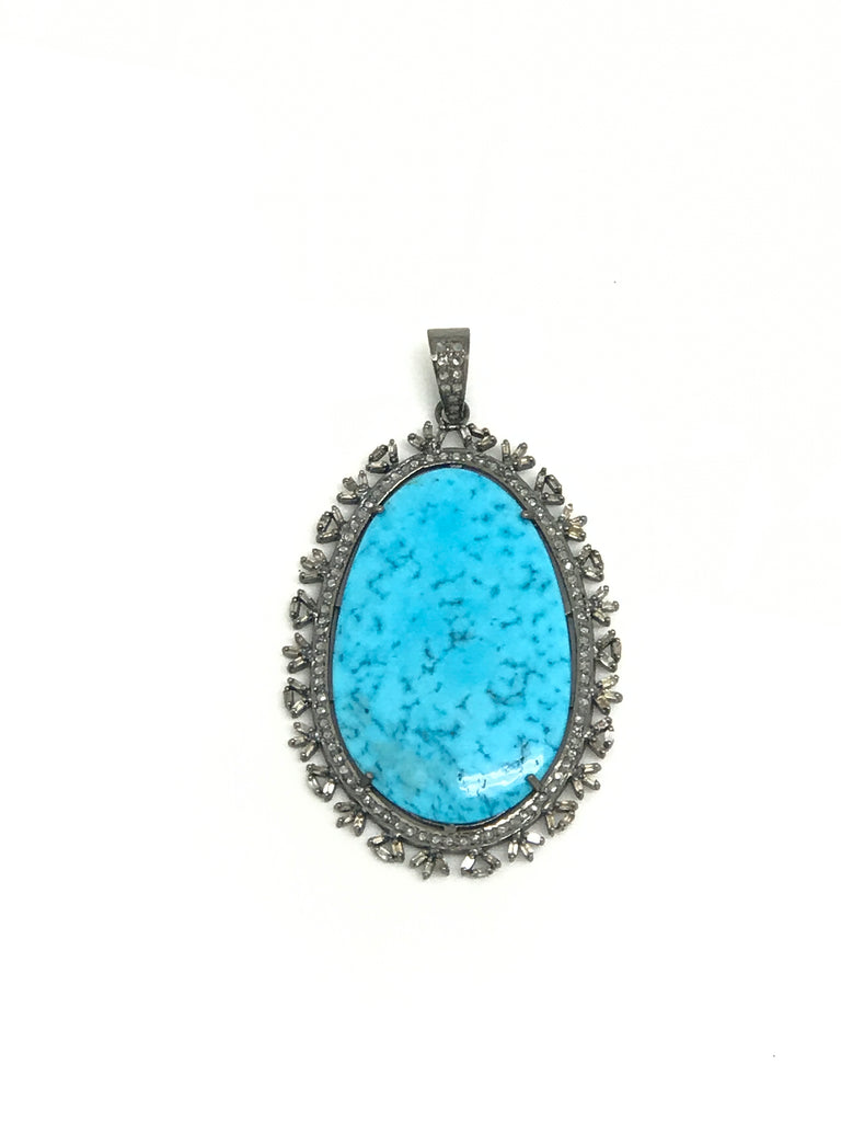 Turquoise And Baguette Diamond Pendant